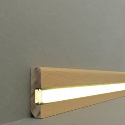 """Licht - Fußleisten / Licht - Sockelleisten """"Braunschweig"""" (Massivholz lackiert / 6.16.58.2L) - Buche"""