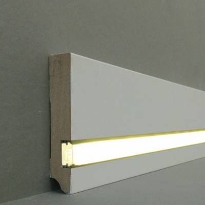 """Licht - Fußleisten / Licht - Sockelleisten """"Gera"""" (MDF foliert / 721.1996L) - weiß"""