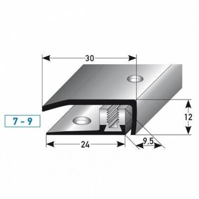 """Abschlussprofil / Abschlussleiste Laminat """"Davidson"""", Höhe 7 x9 mm, 30 mm breit, Edelstahl, Flex"""