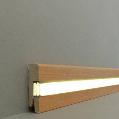"""Licht - Fußleisten / Licht - Sockelleisten """"Ulm"""" (MDF foliert / 716.72L) - Buche dunkel"""