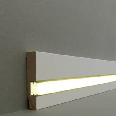 """Licht - Fußleisten / Licht - Sockelleisten """"Cuxhaven"""" (MDF foliert / 721.1670L) - weiß"""